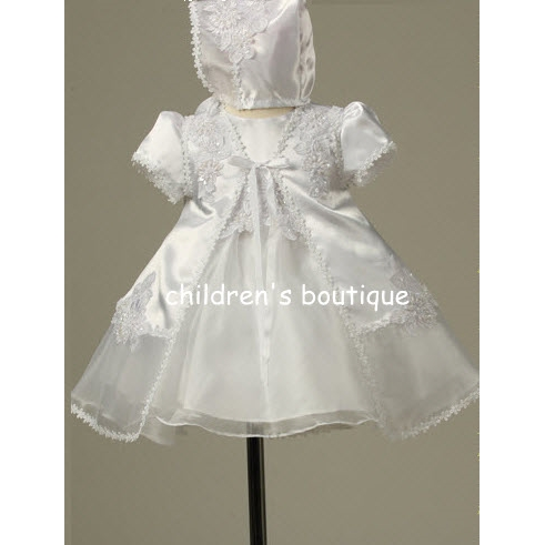 Christening Gown With Satin and Organza Robe