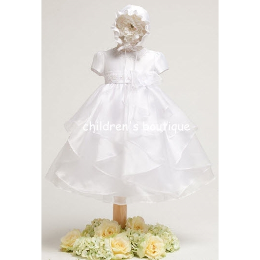 Christening Gown With Organza Ruffled Layers