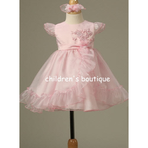 Satin Infant Dress with Ruffled Chiffon Skirt