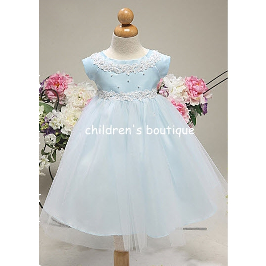 Satin Infant Party Dress With Tulle Skirt