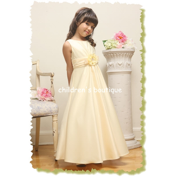 """Daniella"" Long Satin Flower Girl Dress"