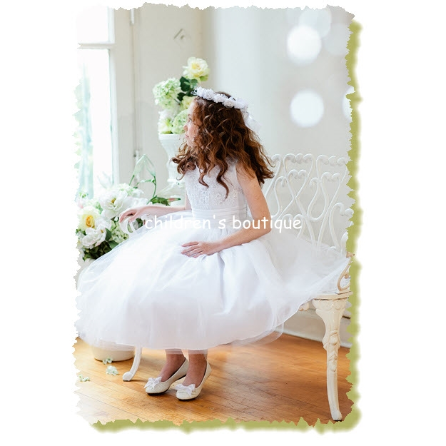 Floral Embroidery Flower Girl Dress