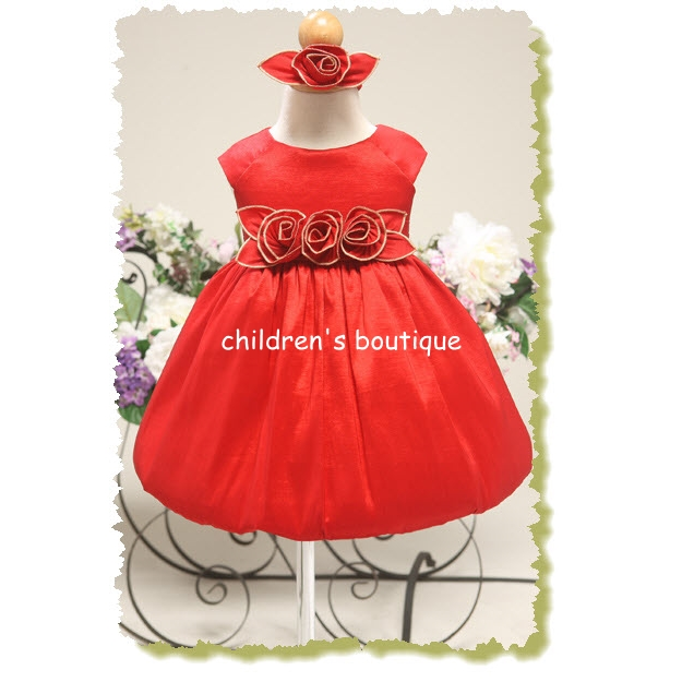 Taffeta Baby Fancy Dress With Metallic Rose Accents