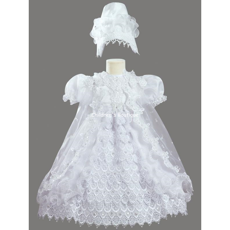 Ruffled Baptism Gown with Cape
