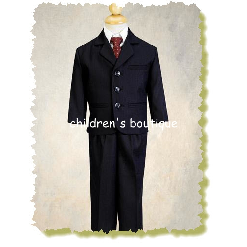 Navy Blue Pin-Striped Boys Suit