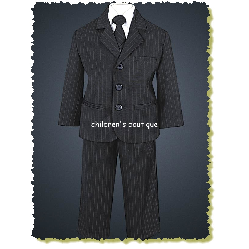 Black Pin-Striped Suit With Black Pin-Striped Tie.