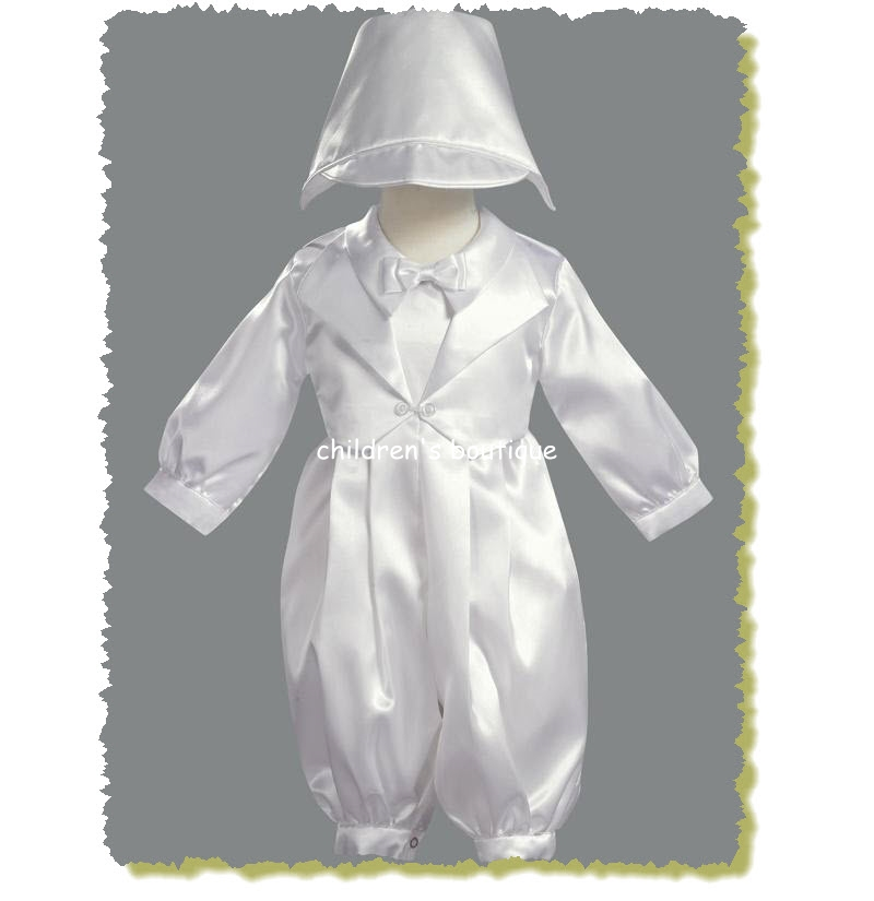 Satin Romper Christening Suit