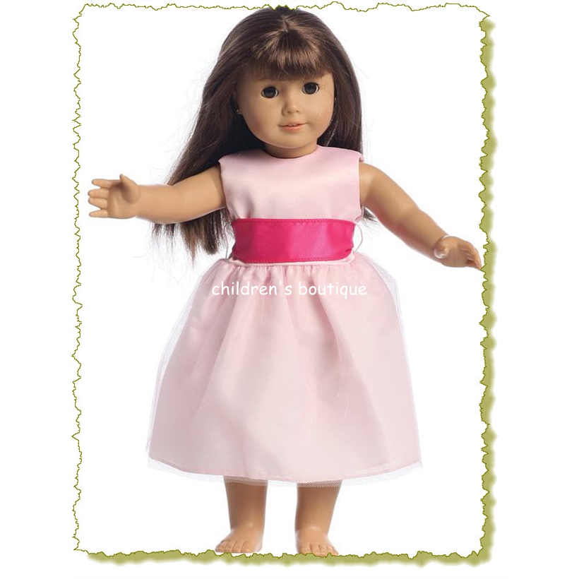 """Penny"" Pink Satin Doll Flower Girl Dress"