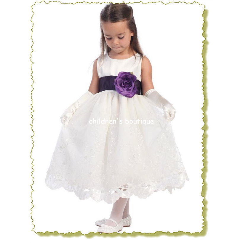 Embroidered Organza Flower Girl Dress
