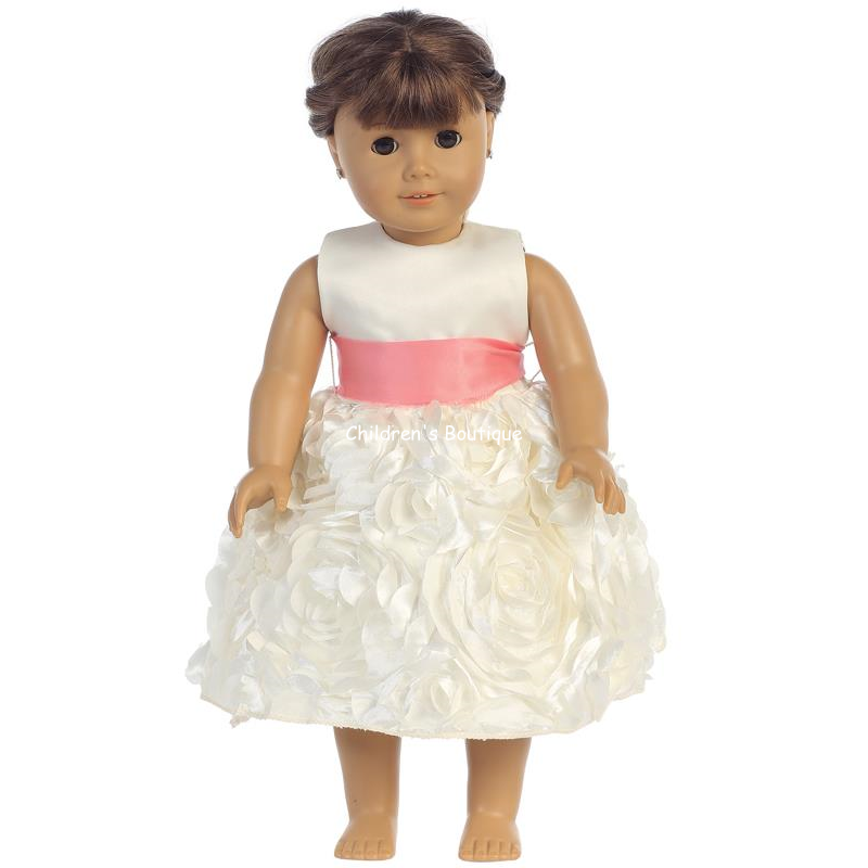 "Floral Ribbon Flower Girl Dress For 18"" Doll"