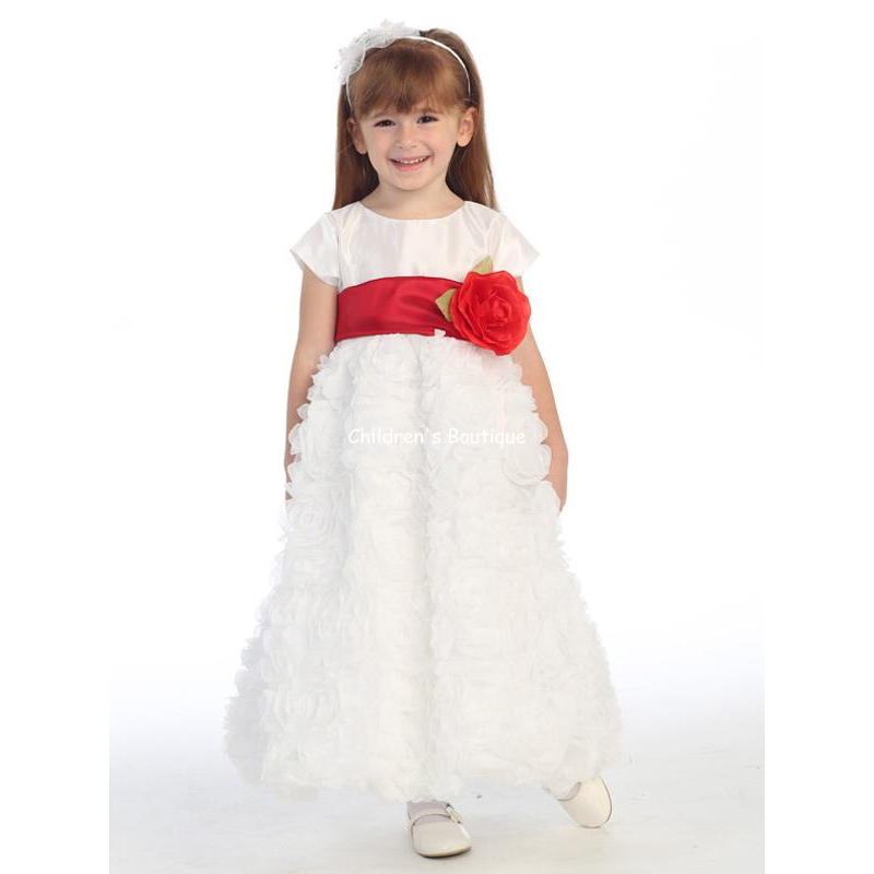 Chiffon Roses Flower Girl Dress