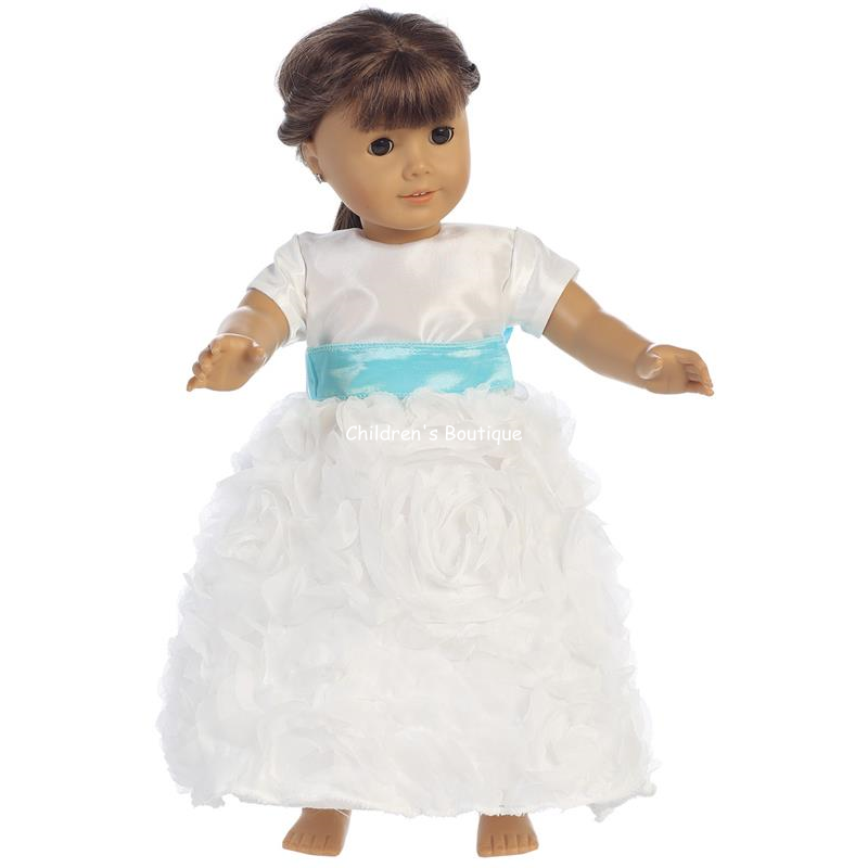"Chiffon Roses Flower Girl 18"" Doll Dress"