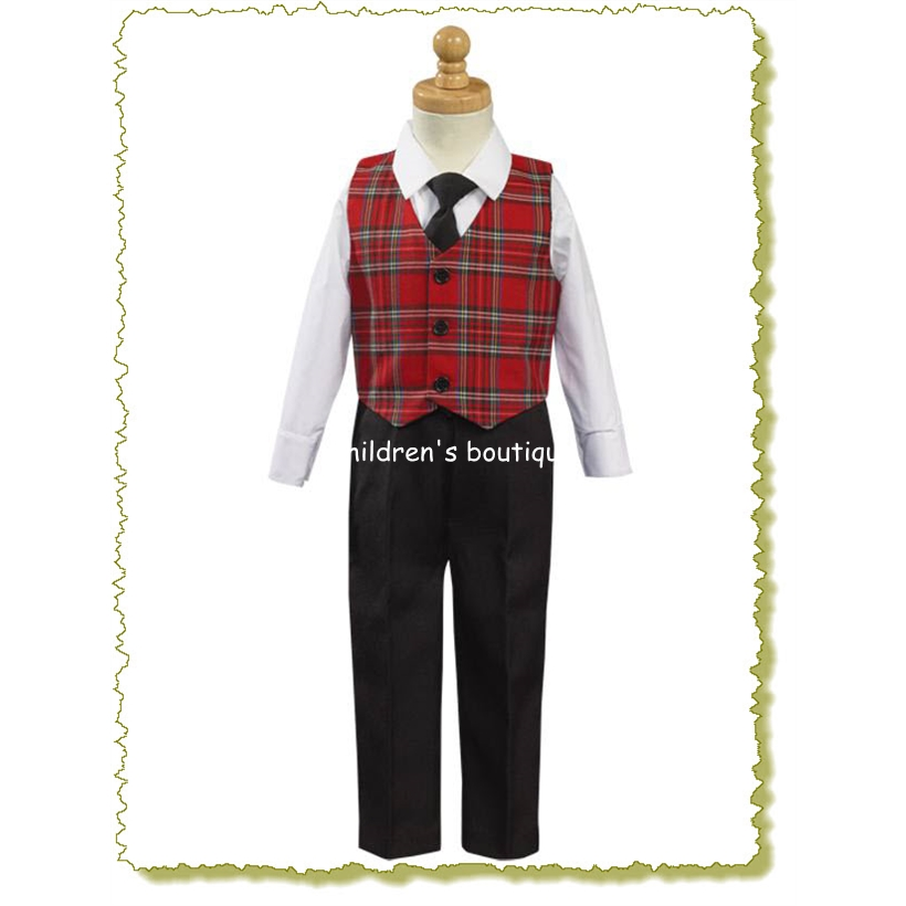 """Bobby"" Red plaid vest with Black pants"