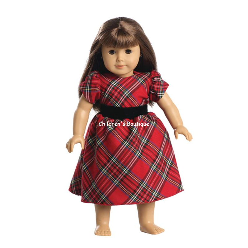 "Classic Plaid Holiday Dress For 18"" Doll"