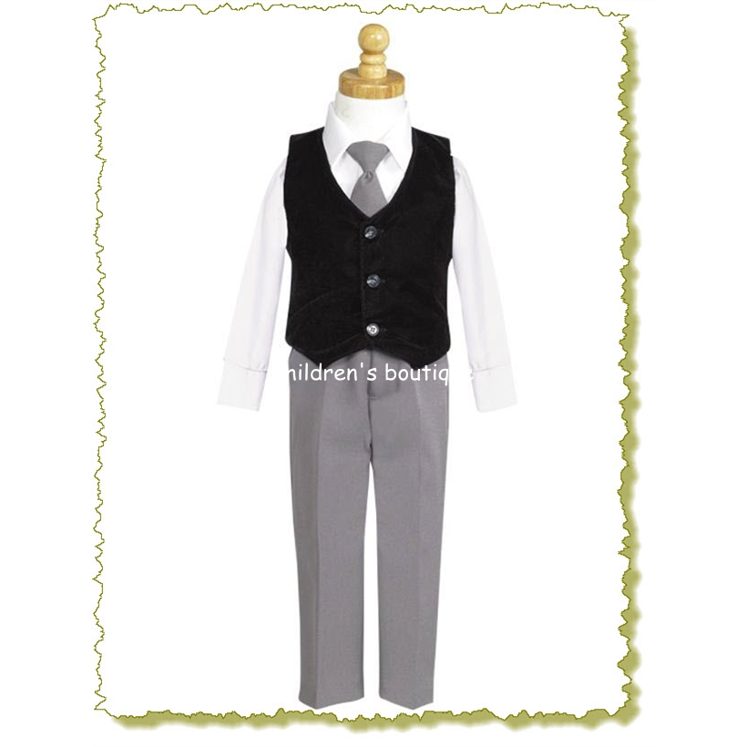 """Michael"" Black Taffeta Vest and Pant Set."