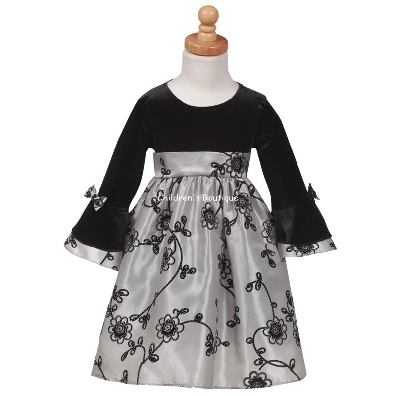 Silver Velvet Infant Holiday Dress