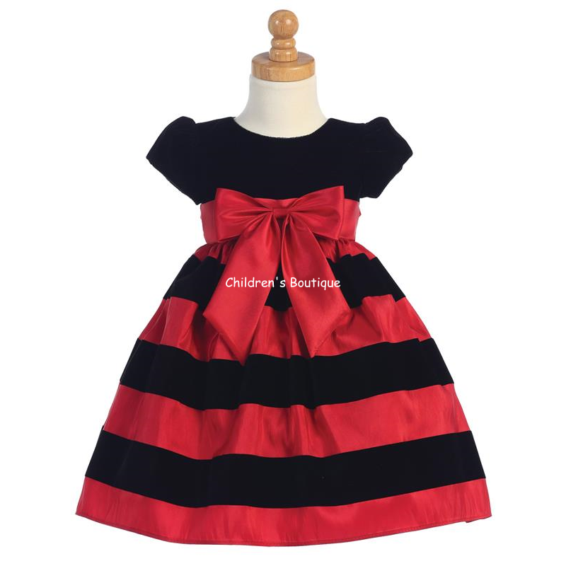 Striped Taffeta Girls Holiday Dress