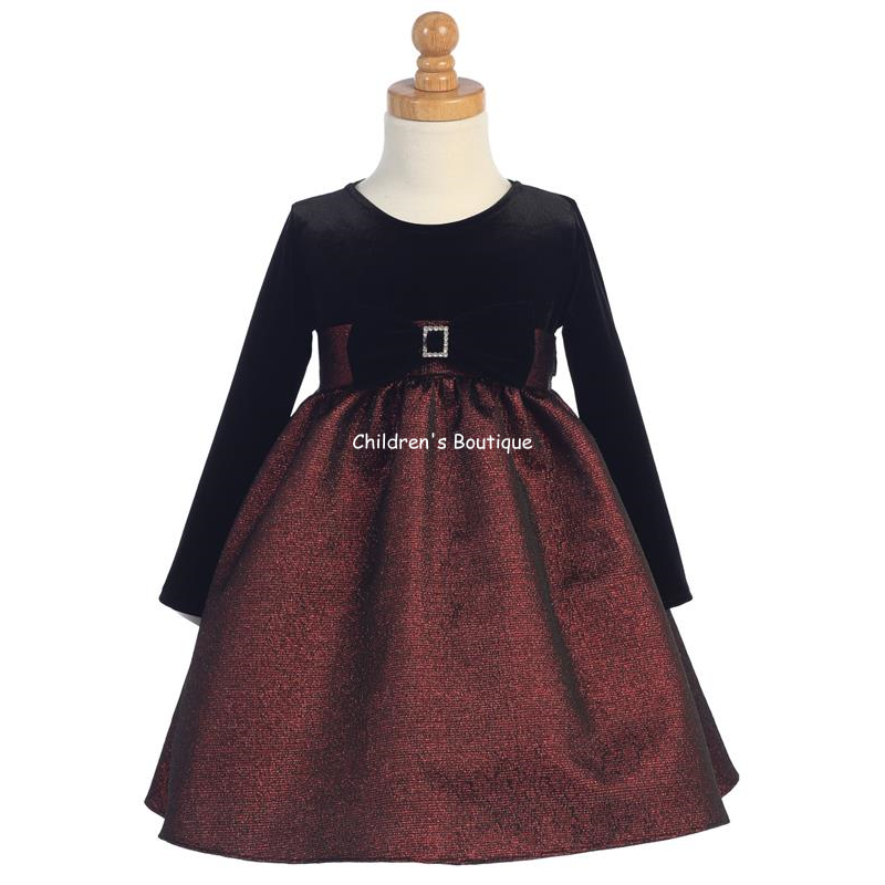 Jacquard Long Sleeve Girls Holiday Dress