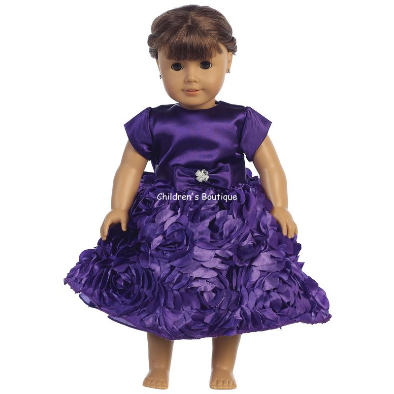 "Floral Ribbon Holiday Dress For 18"" Doll"