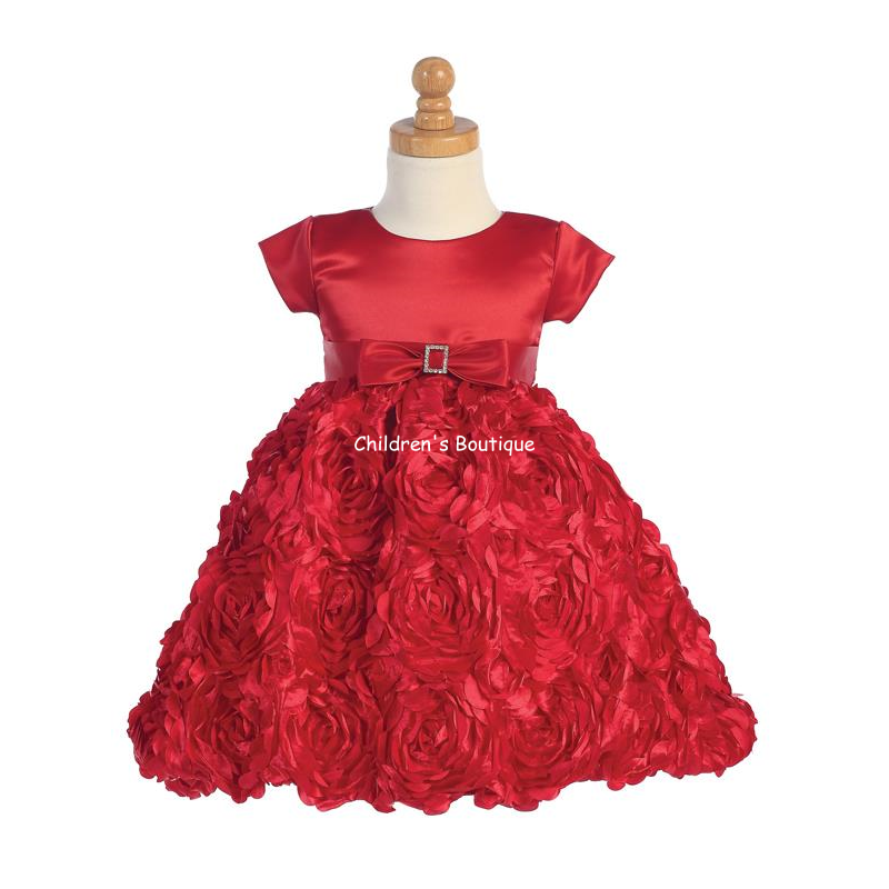 Floral Ribbon Girls Holiday Dress