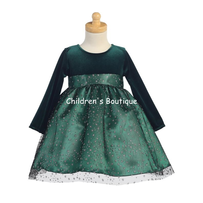 Stretch Velvet Bodice With Glitter Tulle Skirt
