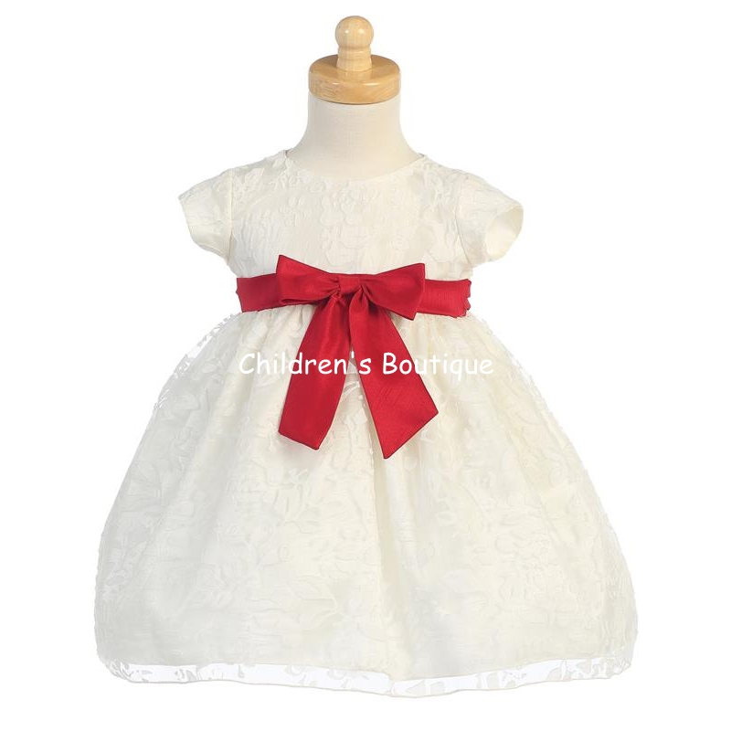Ivory Organza Burnout Dress With Red Taffeta Bow