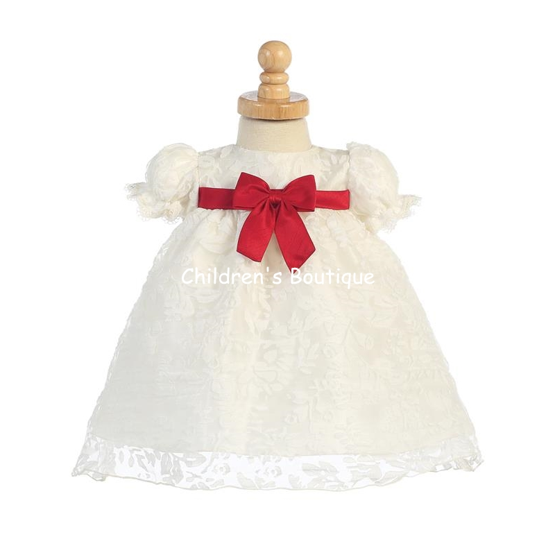 Ivory Organza Burnout Baby Dress With Red Taffeta Bow