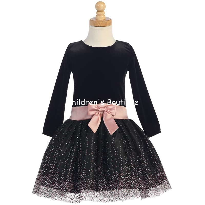 Stretch Velvet Bodice With Sparkling Tulle Skirt