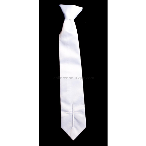 Boys White Clip On Tie