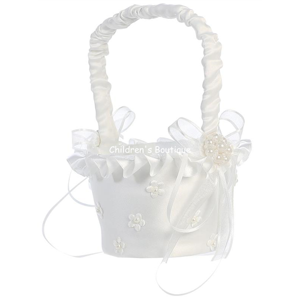 Pearl Flowers Flower Girl Basket
