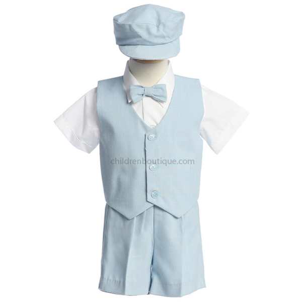 Light Blue Boys Vest And Short Set