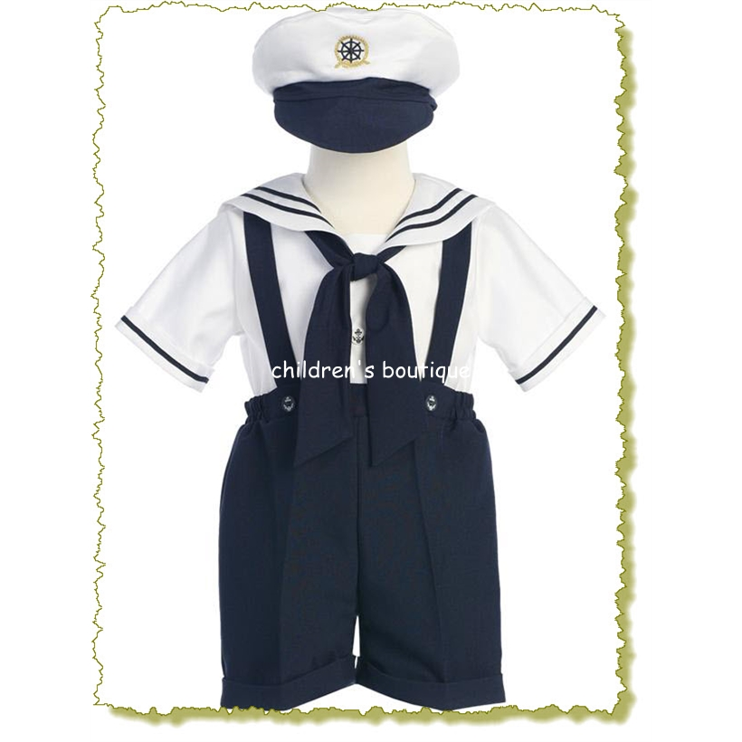 Boys Sailor Suspender Shorts Outfit