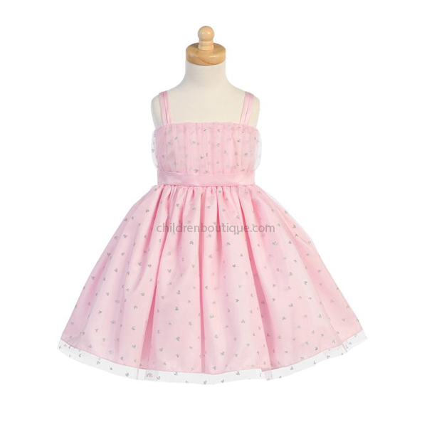 Girls Party Dress With Glittered Hearts