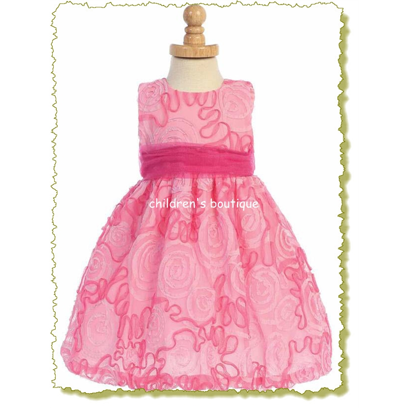 Fuchsia Tulle With Ribbon Infant Pary Dress