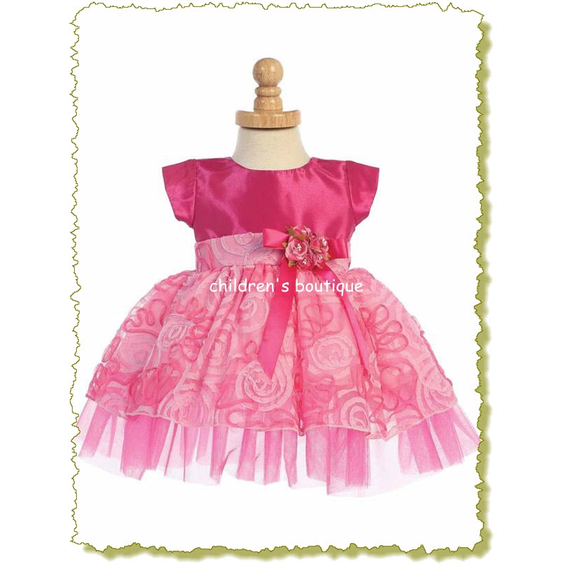 Fuchsia Tulle with Ribbon Baby Girl Dress