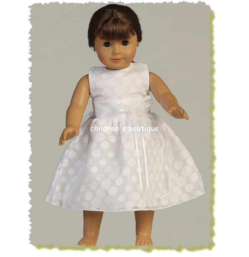 "18"" Doll Dress/Polka-Dot Communion Dress"
