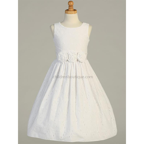 Embroidered Cotton First Communion Dress