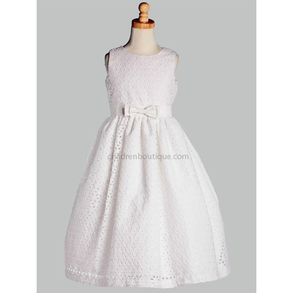 Cotton Floral Embroidered Communion Dress