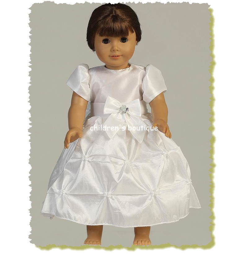 "18"" Doll Dress; Taffeta Communion Dress"