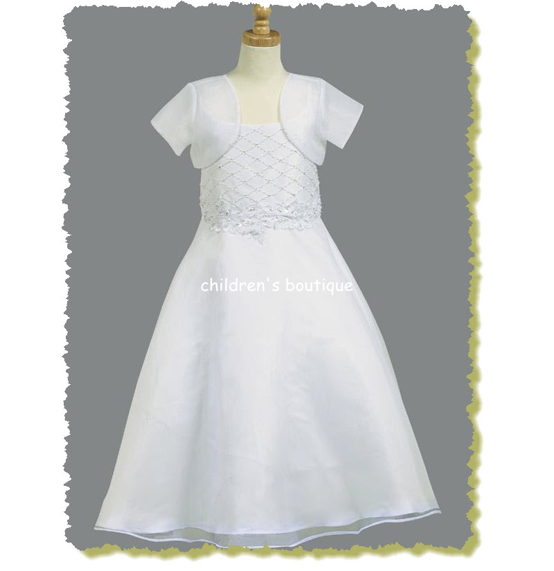 Communion Dress Shantung Bodice With Beadwork