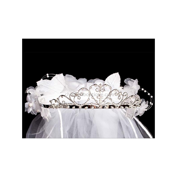 Rhinestone Heart First Communion Tiara and Veil