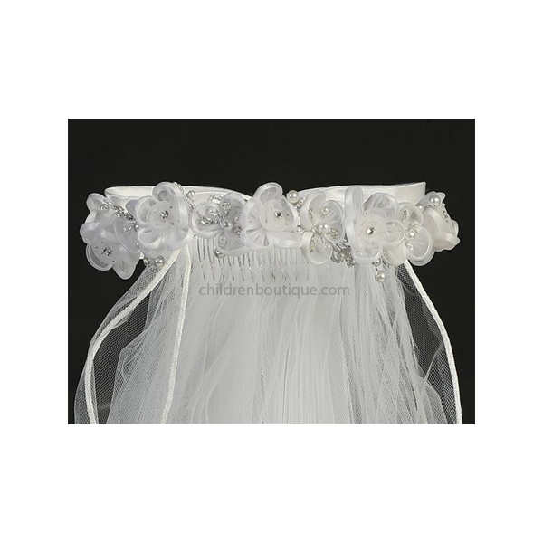 First Communion Veil With Organza Flowers