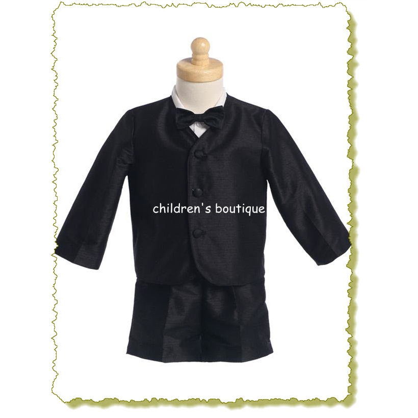 Poly Silk Eton And Shorts Toddler Boys Suit