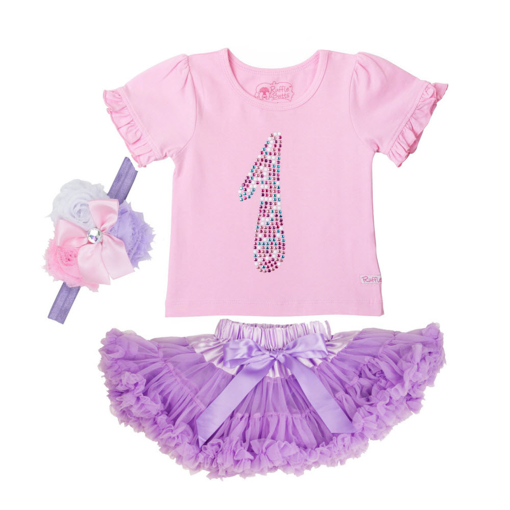 Rufflebutts 3pc Birthday Party Outfit (Age 1)