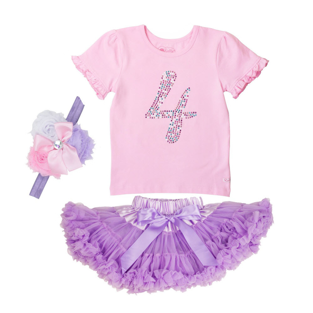 Rufflebutts 3pc Birthday Party Outfit (Age 4)