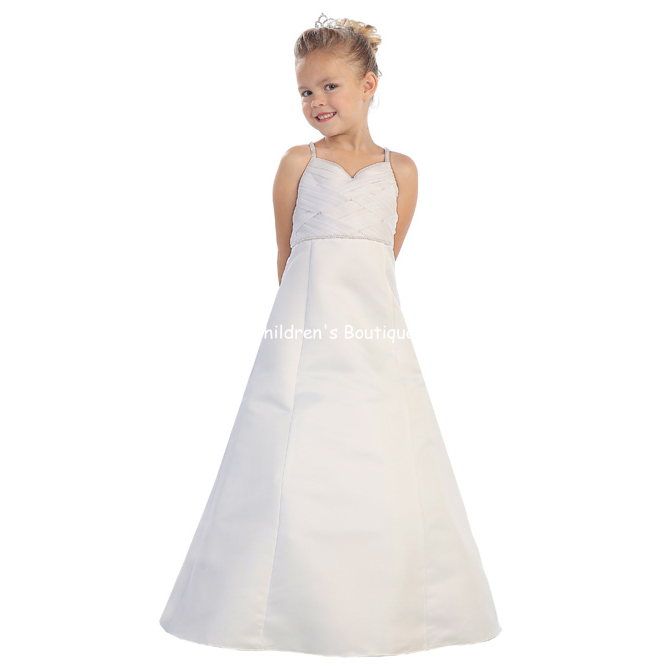 Pearl Accented Flower Girl Dress
