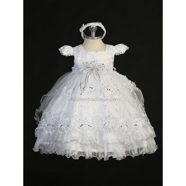Glitter Organza Baptism Gown