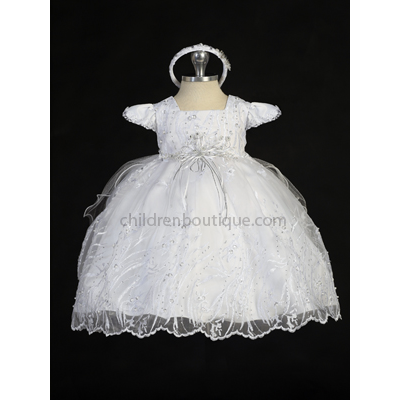 Beaded Organza Baptism Gown