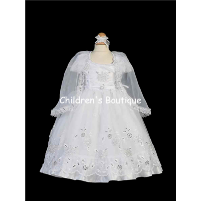 Organza Baptism Gown With Cape