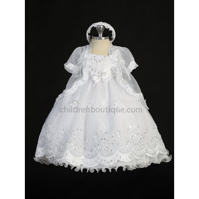 Baptism Gown with Organza Overlay